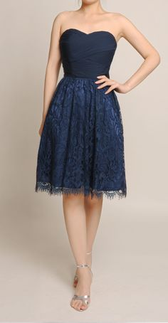 Dark Navy Sweetheart Ruched Bodice Bridesmaid Gown With Lace Skirt