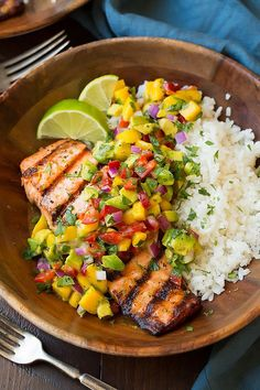 Grilled Lime Salmon with Avocado-Mango Salsa and Coconut Rice - Cooking Classy Más