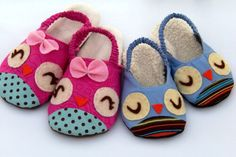Owls and Chicks Kid's Slipper PDF Sewing Pattern from www.sweetpeakidspatterns.etsy.com