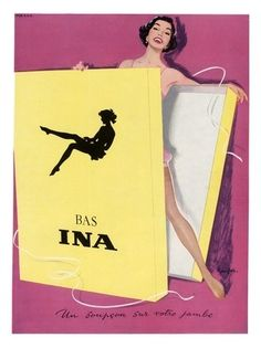 Bas Ina, Vintage Stockings Advert, 1950s