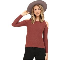 ONLY Fresno Pullover (Henna) ($35) ❤ liked on Polyvore featuring tops, sweaters, brown, open shoulder sweater, open shoulder tops, red pullover sweater, red top and cold shoulder tops