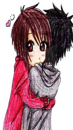 emo anime art sketches | Emo Anime Couple Drawing