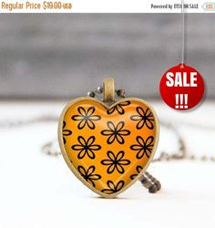 Orange heart necklace Floral heart shaped pendant necklace Photo necklace Picture necklace Bridesmaid gift Love gift for her 13.30 USD StudioDbronze Heart necklace Floral necklace pendant necklace Photo necklace Picture necklace heart shaped Heart photo necklace Jewelry for her Orange necklace Orange heart 5011-8 Love gift for her Bridesmaid gift #handmade #jewelry #etsy