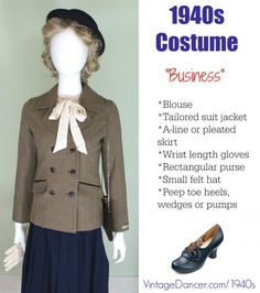 Vintage Fashion costume women in business at vintagedancer com - Quality and authentic women's costume ideas using new, vintage or thrift store clothing. Dresses, work clothes, teenage, pin up fashions and more. 1940s Outfits, 1940s Dresses, Trendy Outfits, Vintage Outfits, Vintage Clothing, Vintage Dresses, Vintage Inspired Fashion, 1940s Fashion, Vintage Fashion