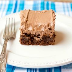 Chocolate Cream Cheese Frosted Thick and Chewy Brownies are amazingly dense and decadent!