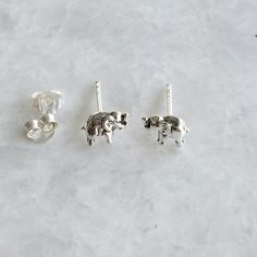 Sterling silver cute elephant ear studs, Minimal elephant ear studs, Cartilage studs, Tiny elephant studs, Silver earrings (ES252) by SilverCartel on Etsy