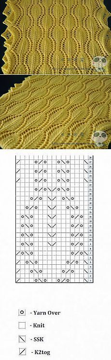 Lace chain knitting pattern, chart only. Free lace knitting patterns in written form: free lace knitting patterns More Patterns Like This! Lace Knitting Stitches, Lace Knitting Patterns, Knitting Charts, Lace Patterns, Knitting Designs, Knitting Yarn, Hand Knitting, Crochet Shawl, Free Pattern