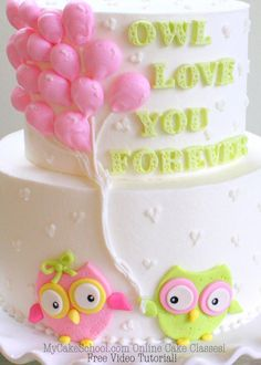 Adorable cake decorating video tutorial featuring owls and buttercream balloons!