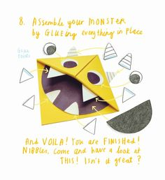 """How to make a """"Nibbles the Book Monster"""" bookmark Monster Activities, Monster Crafts, Activities For Kids, Kid Activites, Toddler Books, Childrens Books, Monster Bookmark, Monster Book Of Monsters, Bookmarks Kids"""