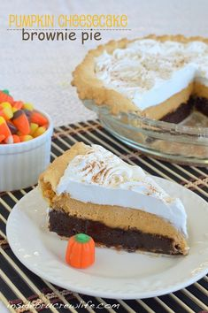 Thanksgiving pie this year? Pumpkin Cheesecake Brownie Pie - a fudge brownie layer topped with pumpkin cheesecake and Cool whip
