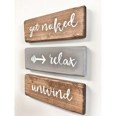 Three Rustic Wooden Signs Relax Unwind Get Naked Arrow 3 Piece Set... ($34) ❤ liked on Polyvore featuring home, home decor, wall art, home & living, home décor, silver, wall décor, wall hangings, wooden wall art and wooden wall hanging