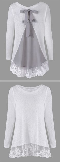 sweater outfits:Back Bowknot Lace Panel Long Sleeve Knit Top