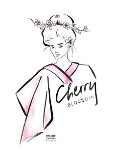 Cherry Blossom   Watercolor and Ink   Wasserfarbe und Tusche   Japanese   Kimono   Kirschblüte   Japan   Lettering   Melanie Schörkhuber Illustration Hair Illustration, Awesome Hair, Lettering, Cool Hairstyles, Disney Characters, Fictional Characters, Aurora Sleeping Beauty, Japan, Illustrations