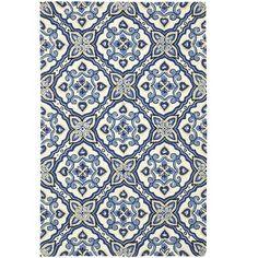 Pattern reminiscent of antique Majorcan tile, in a deep indigo - Mediterranean Rugs - Mediterranean Rugs, Navy Bedrooms, Outdoor Rugs, Indoor Outdoor, Outdoor Spaces, Outdoor Decor, Blue Tiles, Pier 1 Imports, Stone Tiles
