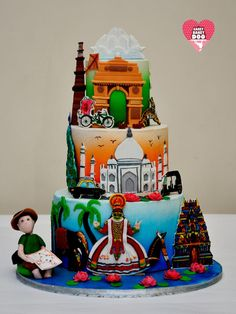 India through travelers eye - cake by Payal Potdukhe - Cakey Bakey Doo India Cakes, Cupcake Cookies, Cupcakes, Haute Cakes, Chocolate Chip Pound Cake, Satin Ice Fondant, Cake International, Travel Cake, Indian Wedding Cakes