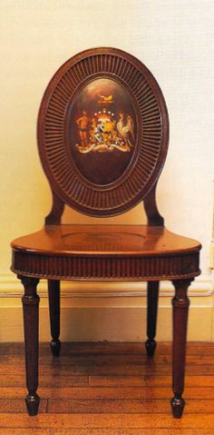 """One of a set of four mahogany hall chairs, c. supplied to the sixth Earl of Antrim for Glenarm Castle, Co. Photography by James Fennell and Dara McGrath for """"Irish Furniture"""". Hall Chairs, Eclectic Taste, Sofa Chair, British Style, Antique Furniture, 18th Century, Ireland, Irish, Rococo"""