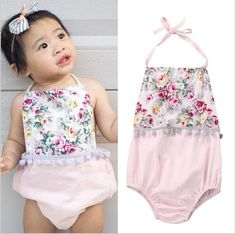 0865eefb3fe9 Cute Summer Baby Rompers White and Pink
