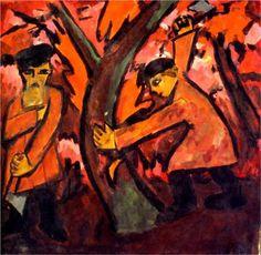 natalia goncharova paintings | Woodcutters - Natalia Goncharova - WikiPaintings.org