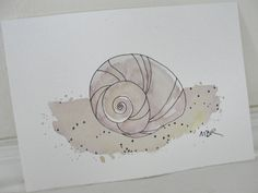 Beach Snail Watercolor Painting Ink Drawing by maryrichmonddesign . Beach Sketches, Snail Shell, Sketch Inspiration, Stamp Making, Watercolor Paintings, Watercolours, Sea Shells, Ink, Drawings