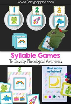 Syllable games to develop phonological awareness - Fairy Poppins Early Learning Activities, Rhyming Activities, Kindergarten Literacy, Early Literacy, Literacy Activities, Preschool Centers, Literacy Centers, Emergent Literacy, Ocean Activities
