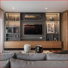 Living Room Built Ins, Living Room Wall Units, Living Room Tv Unit Designs, Home Living Room, Living Room Decor, Kitchen Living, Apartment Living, Tv Living Rooms, Tv Wall Unit Designs