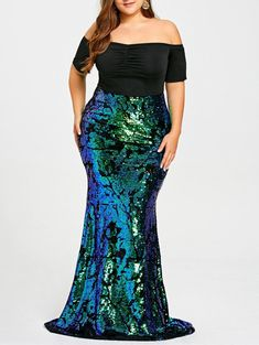 4a9c459942c52 Plus Size Women Dresses Off Shoulder Sequined Mermaid Dress Party Dres