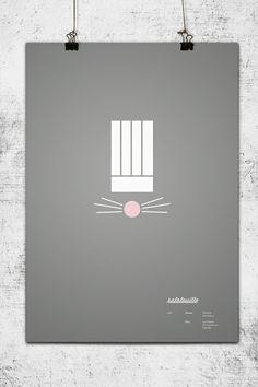"""minimalist design of Pixar's """"Ratatouille"""" poster"""