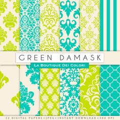 Cute Green damask digital paper. Green by LaBoutiqueDeiColori