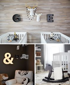 A black and white nursery for twins - Think.Make.Share.