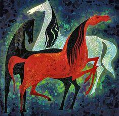 Three Noble Horses Eyvind Earle - WikiPaintings.org 1993