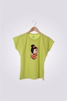 Camiseta de mujer ArriquiCurra color verde pistacho.