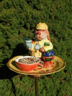 Bird Feeder, Dog Teapot Art, Repurposed Garden Art, Garden Whimsy, Decorative Birdfeeder, Garden Totem, Garden Accent – Sherlock Hound