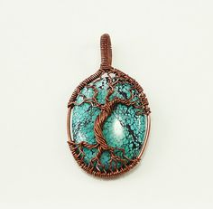 Tree of Life over Turquoise by whitecloverstudios on Etsy, $55.00