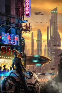 Futuristic City, Cyberpunk Atmosphere