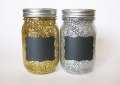 Silver Glitter Mason Jars Chalkboard Mason by TheCraftyEngineerx, $16.00