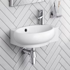 Naro Contemporary Cloakroom Wall Hung Basin (left hand) - soak.com