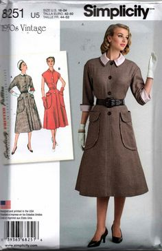 Simplicity 8251 Vintage Repro 1950s Collared Shirtdress Pattern Sizes 16 - 24 UNCUT Factory Folded