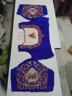Simple Blouse Designs, Saree Blouse Neck Designs, Bridal Blouse Designs, Embroidery On Kurtis, Kurti Embroidery Design, Cut Work Blouse, Kurti Sleeves Design, Maggam Work Designs, Sleeve Designs