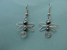 HEMATITE DRAGONFLY EARRINGS wirework