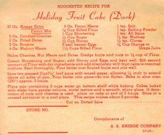 Retro Christmas Recipes | Vintage Recipe Card For Holiday Fruit Cake (Dark)