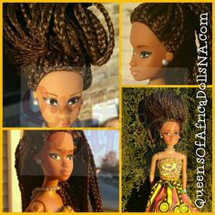 #QueenOfAfrica #Wuraola shows off her box braids. Same braids, different hair styles. Available only at our North America store - QueensOfAfricaDollsNA.com