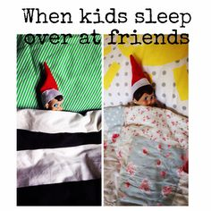 Elves sleeping in kids beds