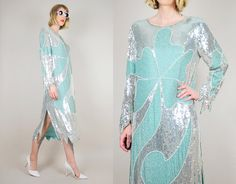 Seafoam Silk SILVER SEQUINED 80's does 20's FLAPPER Scalloped clover leaf Cocktail Party Trophy Art Deco Tent Maxi Dress
