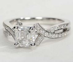 Elegant in every way, this diamond engagement ring showcases two delicate twists of white gold with pave-set diamonds to frame your choice of center diamond. Best Engagement Rings, Beautiful Engagement Rings, Beautiful Rings, Blue Nile Jewelry, Love Ring, Bridal Rings, Jewelry Rings, Jewlery, Fashion Jewelry