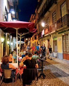 Nightlife in Bairro Alto, Lisbon, Portugal