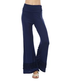 Navy Crochet-Accent Wide Leg Pants