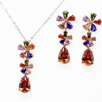 Nuevo diseño ltalina manzana roja y rigant 18 k dorado flor shape sistemas de la joyería con cristal de Austria para mujeres