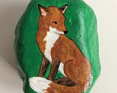 Sitting fox painted rock paperweight