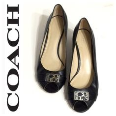 •COACH• Black Leather Peep Toe Wedges 7.5 Worn with love. Buttery soft leather. Minor scratches to the silver metal nameplate on the toes. Size 7.5 Coach Shoes Wedges