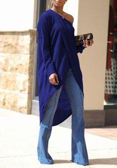 d413b4ee1d107 Navy Blue Irregular Swallowtail One Shoulder High-low Long Sleeve Oversized  Casual T-Shirt